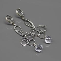 kolczyki,srebro,kwarc niebieski,wire wrapping - Kolczyki - Biżuteria