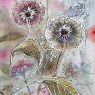 Ilustracje, rysunki, fotografia pejzaż,dmuchawce,łąka,kwiaty,czerwony,kolory
