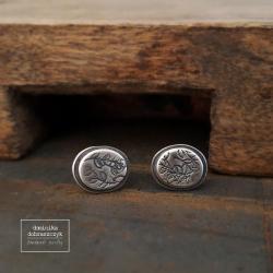 srebro,liście,liść,minimalizm - Kolczyki - Biżuteria