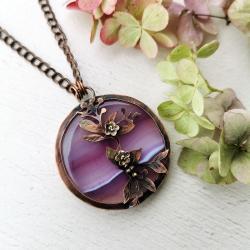 bizuteria z miedzi,kwiaty,fioletowy agat - Naszyjniki - Biżuteria