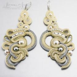kolczyki,sutasz,perły,lipowska - Kolczyki - Biżuteria