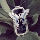 Wisiory wisior z ceramiką,srebrny naszyjnik z motylem