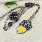 Naszyjniki naszyjnik srebrny z bursztynem serce,prezent