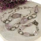 Komplety komplet srebrny,fluoryt,kwarc różowy