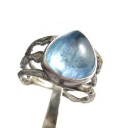 akwamaryn,srebrny,blask,niebo,klejnot,romantyczny - Pierścionki - Biżuteria