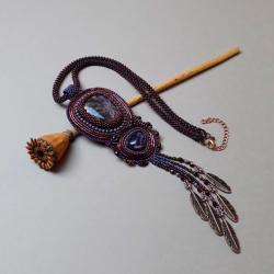 haft koralikowy,naszyjnik,z frędzlami,fioletowy - Naszyjniki - Biżuteria