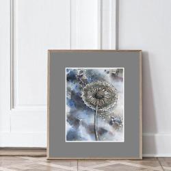 dmuchawce,kwiaty,łąka,obraz,ilustracja,na ścianę, - Ilustracje, rysunki, fotografia - Wyposażenie wnętrz