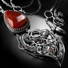 Naszyjniki srebrny,naszyjnik,wire-wrapping,mokait,czerwony