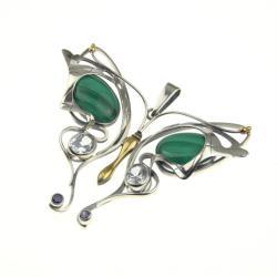 srebrny wisior motyl z elementami pozłacanymi - Wisiory - Biżuteria