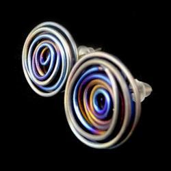 tytan,fiolet,retro,lekkie,blask,złote,antyalergic - Kolczyki - Biżuteria