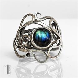 pierścionek srebrny,metaloplastyka,labradoryt - Pierścionki - Biżuteria