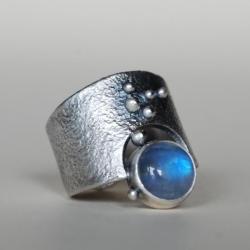 kamień księżycowy,nitza,obrączka,artystyczna - Pierścionki - Biżuteria