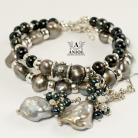 Bransoletki komplet biżuterii z pereł,kolczyki,bransoleta