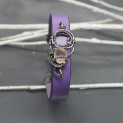bransoletka,skóra,srebro,cytryn,wire wrapping - Bransoletki - Biżuteria