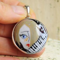 srebro,wisior,twarz,profil,pianino,muzyka - Wisiory - Biżuteria