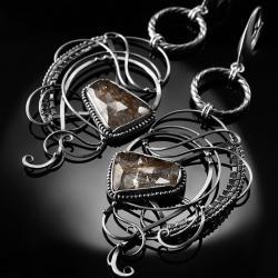 srebrne,kolczyki,wire-wrapping,kwarc,rutylowy,ciba - Kolczyki - Biżuteria