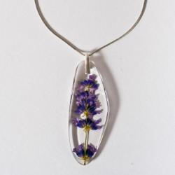 naszyjnik z kwiatem w żywicy,srebro 925 - Naszyjniki - Biżuteria