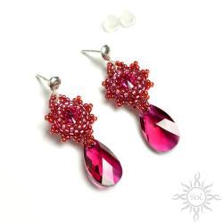 różowe,sztyfty,swarovski,fuksja,wieczorowe,skrzące - Kolczyki - Biżuteria