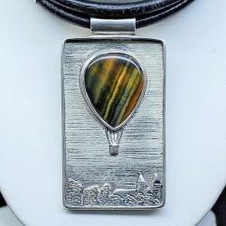 naszyjnik,wisior,kwarc sokole oko,srebro - Naszyjniki - Biżuteria