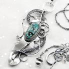 Naszyjniki srebrny,naszyjnik,piórko,wire-wrapping,turkus,ciba
