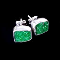 uwarowit,kryształy,srebrne,szarości,srebro,kobiece - Kolczyki - Biżuteria