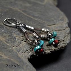 kolczyki czerwone,kolczyki z turkusem - Kolczyki - Biżuteria