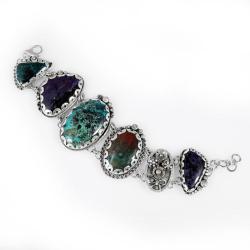 Srebrna bransoleta z minerałami - Bransoletki - Biżuteria
