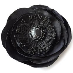 romantyczna,elegancka broszka,kwiat,satyna, - Broszki - Biżuteria