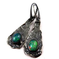 opale,piękne kolczyki z opalami,srebro - Kolczyki - Biżuteria