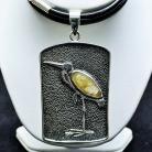 Naszyjniki naszyjnik z kwarcem rutylowym,czapla,srebro,biżute