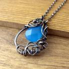 Naszyjniki Naszyjnik wire wrapping z niebieskim chalcedonem