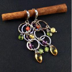 srebrne kolczyki z cytrynami - Kolczyki - Biżuteria