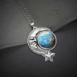 srebrny,naszyjnik,z księżycem,ze spektrolitem - Naszyjniki - Biżuteria