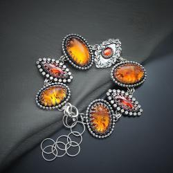 srebrna,ransoletka,z bursztynem - Bransoletki - Biżuteria