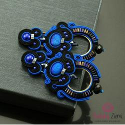 kolczyki sutasz,szafirowe kolczyki,czarne kolczyki - Kolczyki - Biżuteria