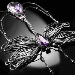 srebrny,naszyjnik,ważka,ametyst,wire-wrapping,ciba - Naszyjniki - Biżuteria