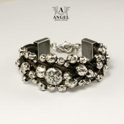 skórzana bransoleta damska,biżuteria srebrna - Bransoletki - Biżuteria