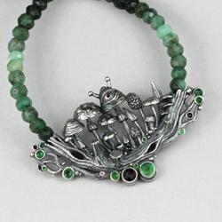 srebrne grzyby,leśny,szmaragd,zielony,las,ufo - Naszyjniki - Biżuteria