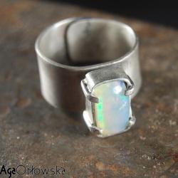 opal,pierścionek,industrialny,surowy - Pierścionki - Biżuteria