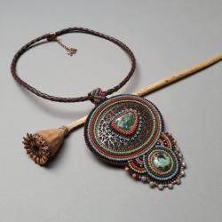 naszyjnik,krótki,haft koralikowy,lekki - Naszyjniki - Biżuteria