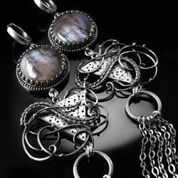 srebrne,kolczyki,wire-wrapping,labradoryt,ciba - Kolczyki - Biżuteria