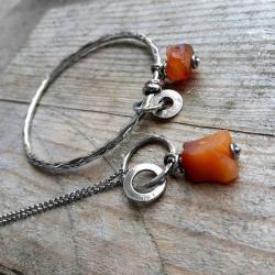 z minerałami,karneole,oksydowany,prezent - Komplety - Biżuteria