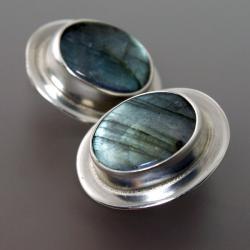 srebrne klipsy z labradorytem - Klipsy - Biżuteria