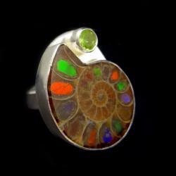 pierścień z amonitem,amonit,unikat,srebro,baśniowy - Pierścionki - Biżuteria