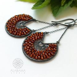 srebrne wiszące kolczyki z cytrynami,cytrusy - Kolczyki - Biżuteria