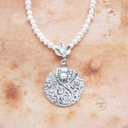 srebrny,naszyjnik,z perłami,subtelny - Naszyjniki - Biżuteria
