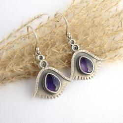 fioletowe kolczyki,ametystowe kolczyki - Kolczyki - Biżuteria