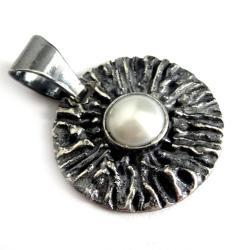 perła,blask,retro,dama,romantyczny,srebrny,babciny - Wisiory - Biżuteria
