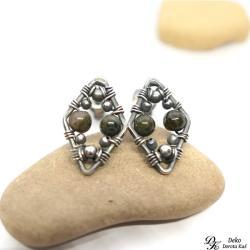 turmalin,zielony,brąz,romby,wirewrapping - Kolczyki - Biżuteria