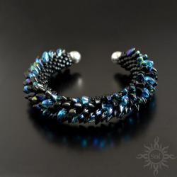 smocza,łuski,czarna,niebieska,cuff,gra o tron, - Bransoletki - Biżuteria